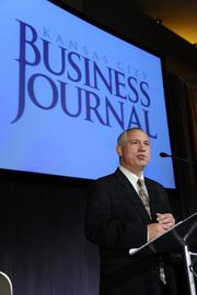 Brian Kaberline, editor-in-chief of the Kansas City Business Journal, thanks the participants, winners and judges.