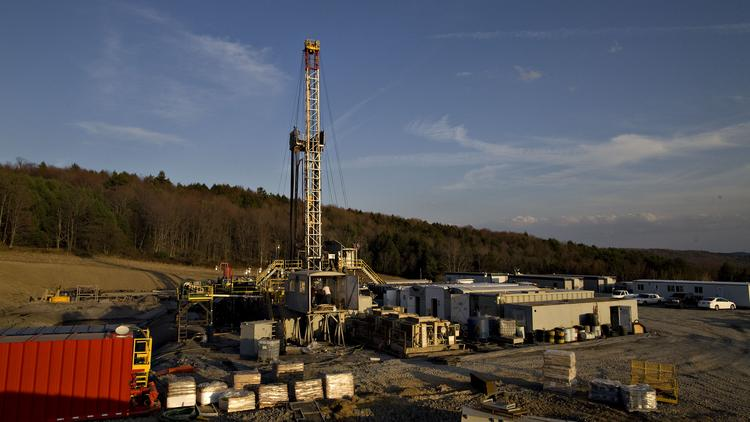 File photo of a drilling rig in Montrose, Pennsylvania, U.S., on Monday, April 5, 2010. Companies are spending billions to dislodge natural gas from a band of shale-sedimentary rock called the Marcellus shale that underlies Pennsylvania, West Virginia and New York. Photographer: Daniel Acker/Bloomberg