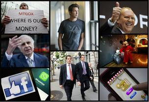Clockwise from top left: Protestors outside Mt. Gox headquarters in Tokyo; GoPro CEO Nick Woodman; designer Michael Kors; Mickey Mouse; King.com's Candy Crush; the Winklevoss brothers; Facebook buys WhatsApp; and investor Carl Ichan.