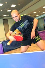 Sameh Awadalla from Egypt worked on his ping pong moves ahead of a match.