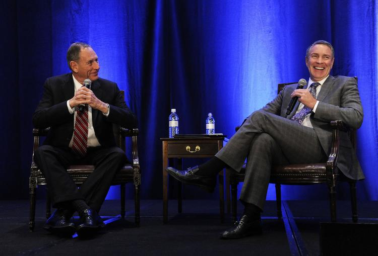 Dr. Delos 'Toby' Cosgrove, CEO of the Cleveland Clinic, left, with former Senate Majority Leader Bill Frist at a Nashville Health Care Council event Friday.