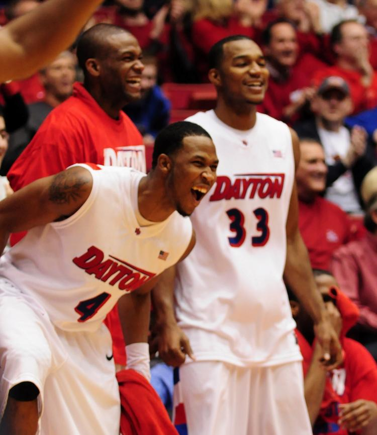 Chris Johnson (No. 4), played for the UD Flyers and is now in the NBA with the Boston Celtics.