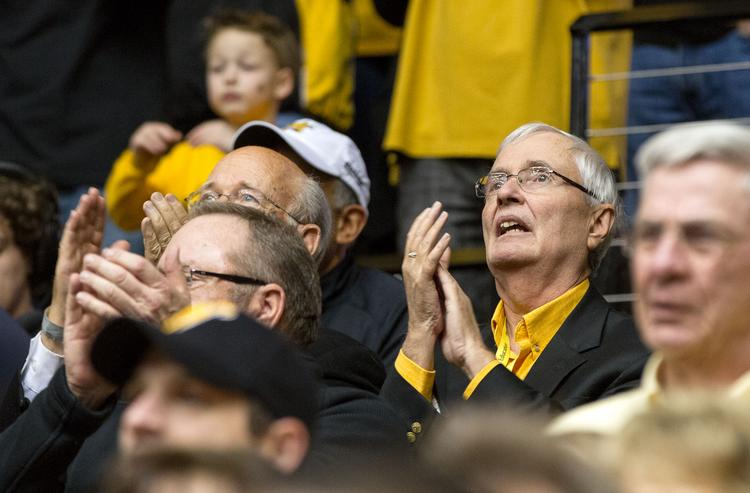 WSU President John Bardo watches as the Shockers defeat the Missouri State Bears to bring their record to 31-0.