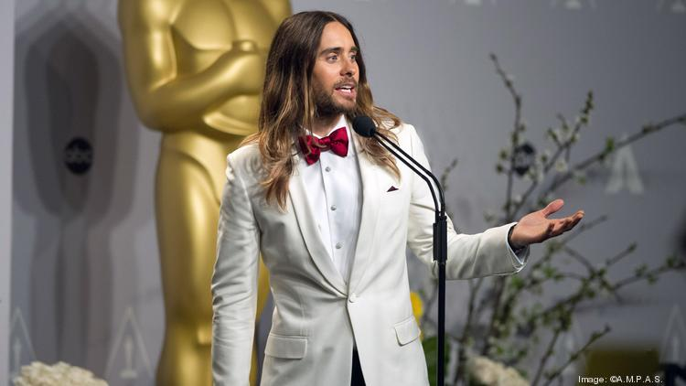 """Jared Leto speaks to the press after winning the Academy Award for best actor in a supporting role for his work in """"Dallas Buyers Club."""""""