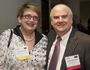 Lucy Lee Helm, left, of Starbucks Corp., and James Minorchio of Riddell Williams during the Puget Sound Business Journal 2013 Corporate Counsel Awards at the W Hotel in Seattle Thursday April 11, 2013. Lucy Lee won the Outstanding Corporate Counsel Diversity Champion Award.