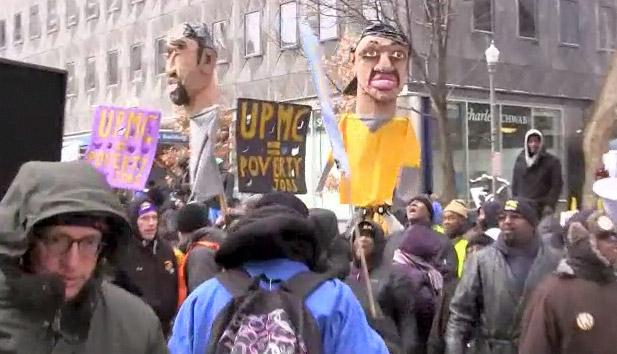 There were protests Monday and Tuesday at UPMC headquarters.