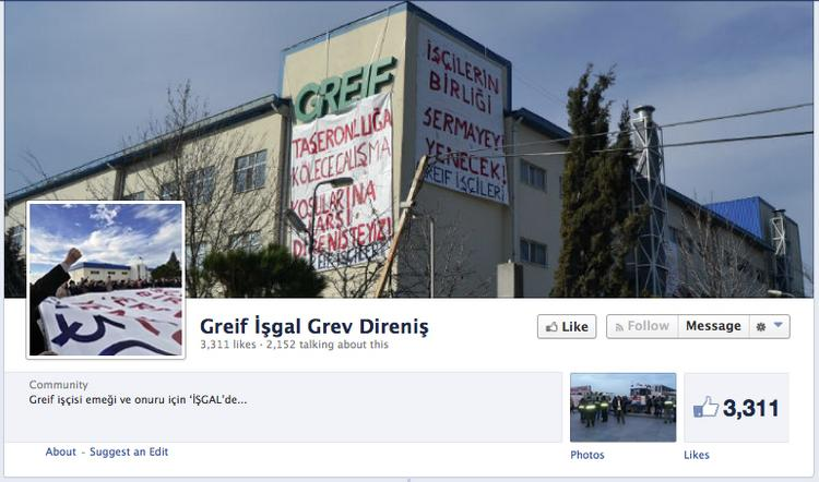 Supporters of striking workers at a Greif plant in Turkey are taking to Facebook.