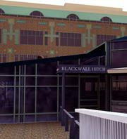 View of the food pavilion outdoor patio and signage as it will look at Blackwall Hitch.