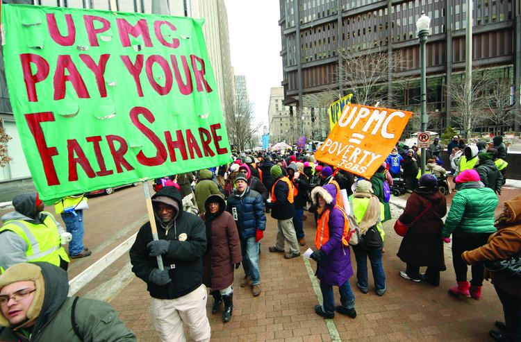 The UPMC protests on Monday. SEIU said it had no plans for a new protest following a meeting by Mayor Bill Peduto and UPMC's Jeffrey Romoff.