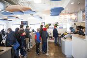 Customers wait in line at lunch at the new White Castle in St. Matthews.