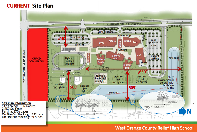 A site plan for a new relief high school in west Orange County