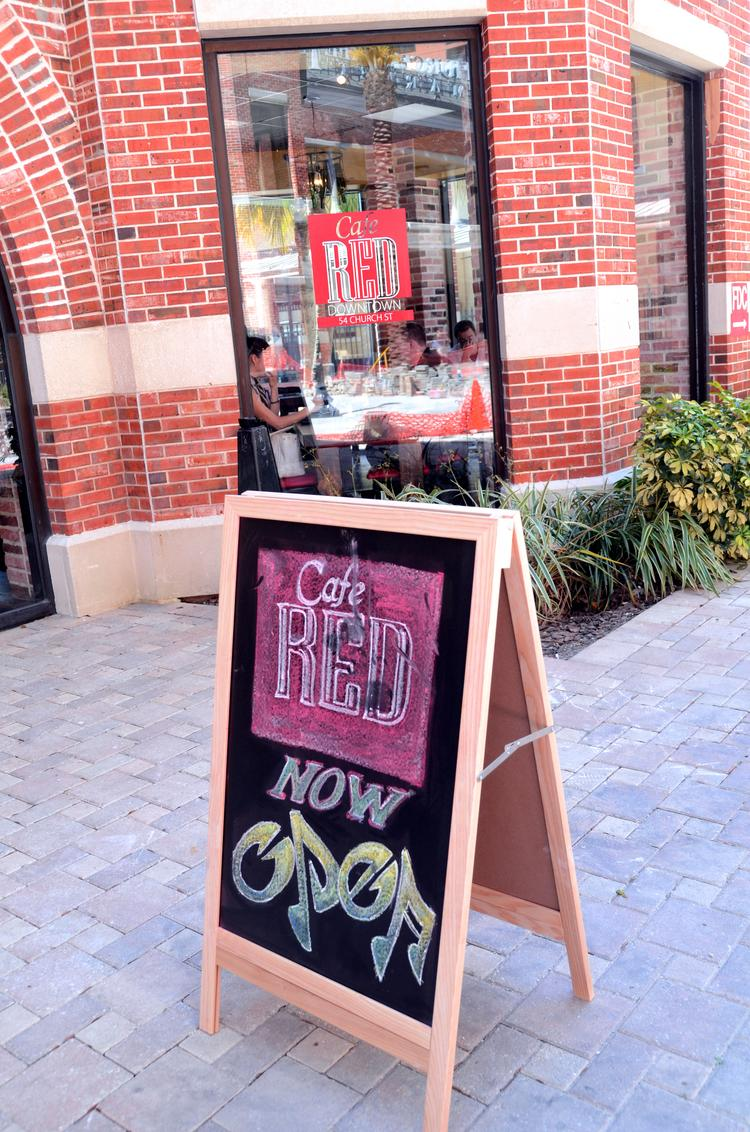The sign says it all. Welcome to the neighborhood, Cafe Red.