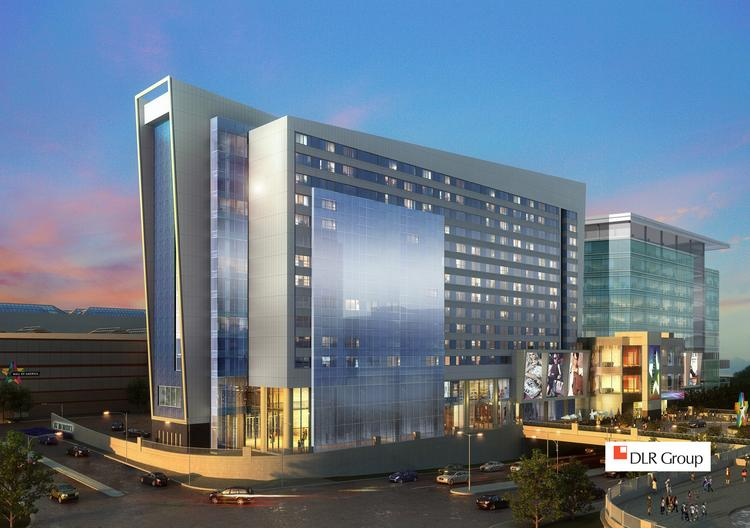 A rendering of Mall of America's upcoming Phase 1C expansion project, which is slated to break ground later this month. It will include a hotel, office building, new retail and dining space, and an underground parking ramp.