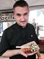 Green New American Vegetarian Chef Damon Brasch served vegan espresso barbeque chicken, brown sugar butter beans and tahini cole slaw. Green has restaurants in Tempe and Phoenix.