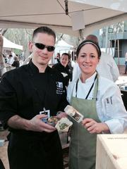 District American Kitchen & Wine Bar chefs John Marchetti and Winnona Herr served melon salad, pork tacos and a creamsicle push pop that was amazing. District is inside the Sheraton Hotel in downtown Phoenix.