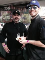 Tempe's House of Tricks chefs Chris Ales (left) and Scott Umscheid served citrus soy-braised pork belly with caramelized onions and apple.