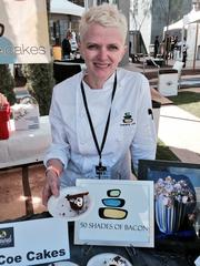 Tammi Coe of Tammie Coe Cakes in Phoenix served a flourless chocolate cake, with smoked bacon chantilly, candied chocolate granola and bacon strips.