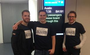 A crew of RetailMeNot developers based in London did a hackathon for a new mobile app for the company as they flew British Airways' new direct flight to Austin, Texas, which is their company headquarters.