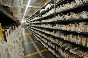 Catalogued books donated to Goodwill that the organization will sell on Amazon.
