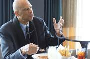 Kareem Abdul-Jabbar ordered lunch from the Mason Street Grill at the Pfister — seafood gumbo and barbecue chicken pizza.