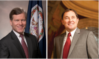 Virginia Gov. Bod McDonnell, left, and Utah Gov. Gary Herbert were in Palo Alto Wednesday to talk economic opportunities for California companies outside the Golden State.