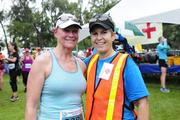 Martha Smith, left, CEO of Kapiolani Medical Center for Women & Children, and KC Carlberg, race director for the Hawaii Pacific Health Women's 10K at Kapiolani Park in Honolulu.