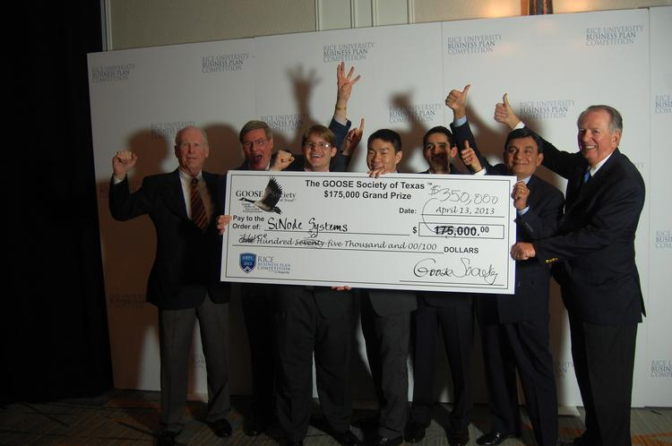 SiNode Systems won the grand prize from The Goose Society of Texas at the 2013 Rice Business Plan Competition on April 13. The prize was originally $175,000, but the society decided to double the prize to $350,000. SiNode, from Northwestern University, is a battery materials company.