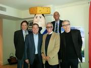 The stars and directors of the next series of Wisconsin tourism ads (clockwise from top): Kareem Abdul-Jabbar, Jerry Zucker, Jim Abrahams, David Zucker and Robert Hays pose with Otto Pilot.