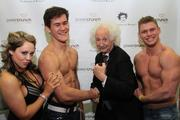 From the left, Dani Rossi of Power Crunch, Michael Paszlor, Benny Wasserman, who is portraying Albert Einstein, and Justin Lanz. Power Crunch uses Wasserman to help promote its nutritional products.