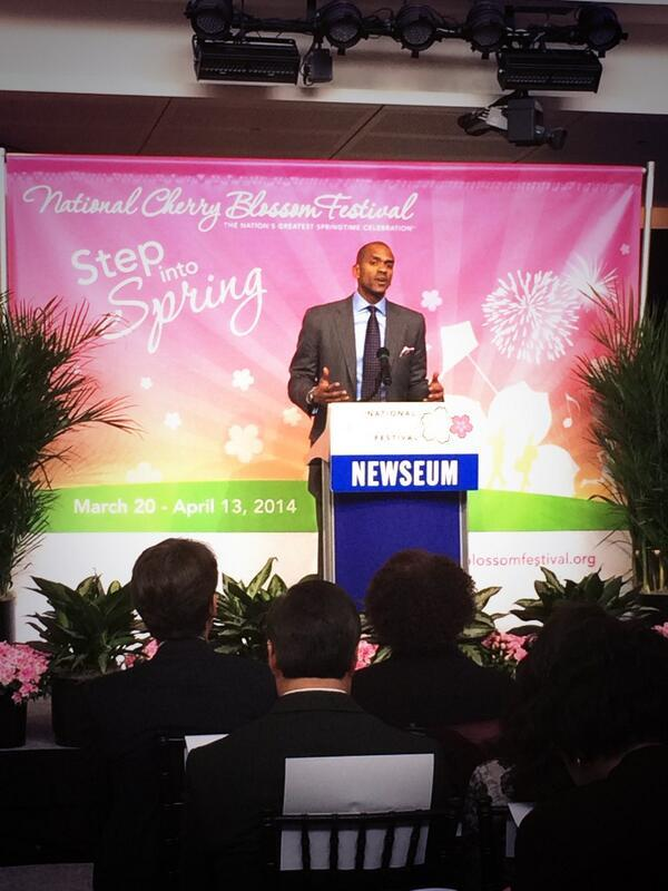 Events DC President Greg O'Dell at the announcement of the 2014 D.C. cherry blossom peak bloom dates at the Newseum.