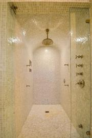 Walk-in shower at at 209 N. Birch Road.