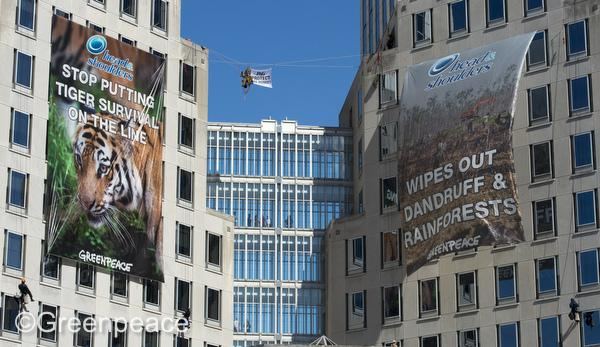 Greenpeace's 60-foot banners protest the company's dealings with palm oil suppliers.