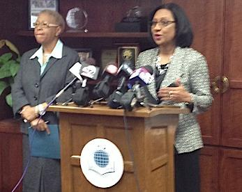 Superintendent Pamela Brown and Mary Guinn, left, met with the media to discuss issues in the Buffalo City School District.