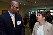 The Lenox Back Bay, one of the honorees at the Boston Business Journal's 2013 Best Green Practices event, was represented in part by Lewis Ware and Marcella Mackenzie.