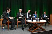 Panelists discussing wind turbine energy issues at the Boston Business Journal's 2013 Best Green Practices event were from left: Jon Chesto, BBJ, managing editor; Jim Gordon, president Cape Wind; Paul J. Gaynor, CEO First Wind; Alicia Barton, CEO Massachusetts Clean Energy Center and Rob Sternthal, president Reznick Capital Markets.
