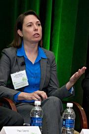 """One of the """"Which way is the wind blowing?"""" panelists at the Boston Business Journal's 2013 Best Green Practices event was Alicia Barton, CEO, Massachusetts Clean Energy Center."""