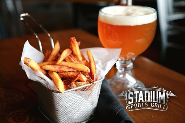 Fries and a beer at Stadium Sports Grill.