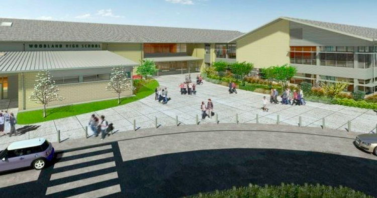 A rendering of the new Woodland, Wash., high school being constructed by Skanska USA.