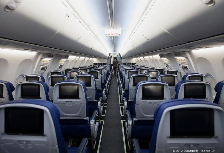 The interior of a Grupo Aeromexico SAB Boeing Co. 767-800 airplane.