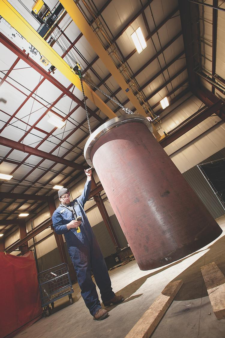 S. Howes Inc. in Silver Creek is one of Western New York's oldest companies. A tour of the 40,000-square-foot facility offers glimpses of the past and present of the 158-year-old business. Doug Webster moves a pressure vessel using a 30-ton crane newly installed in the 8,100-square-foot building addition. B