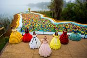 Performers and Lego people dressed as Southern belles appeared at the Florida Pool.