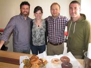 Four of the five partners of Federal Donuts were at a preview of the University City store. From left, Tom Henneman, Felicia D'Ambrosio, Steve Cook and Michael Solomonov. Not pictured: Bobby Logue.
