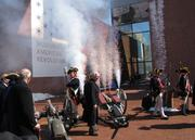 """At a ceremony for the $118 million Museum of the American Revolution, reenactors fired an """"opening salvo"""" consisting of musket fire and pyrotechnics."""