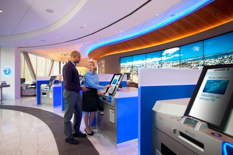 Chase Bank's Blue Ash location includes self-service banking kiosks.