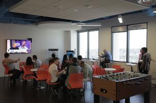 Be Great Labs amenities include coffee, snacks and foosball.