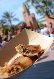 Lamb brewat roll with prunes and sesame from the Taste of Marrakesh kitchen.