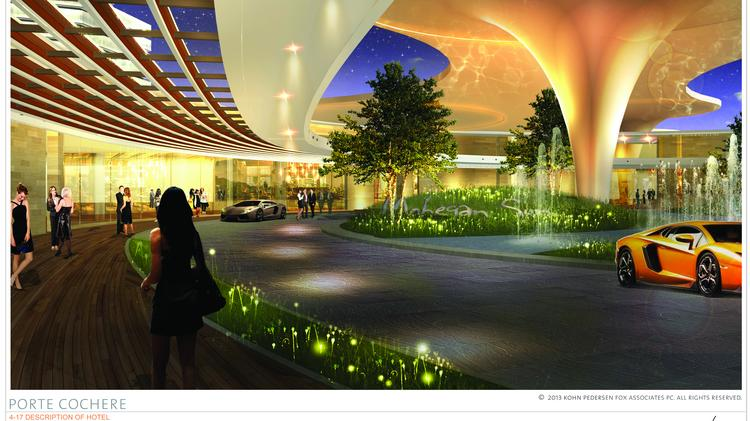 An artist's illustration of the proposed Mohegan Sun casino at Suffolk Downs.
