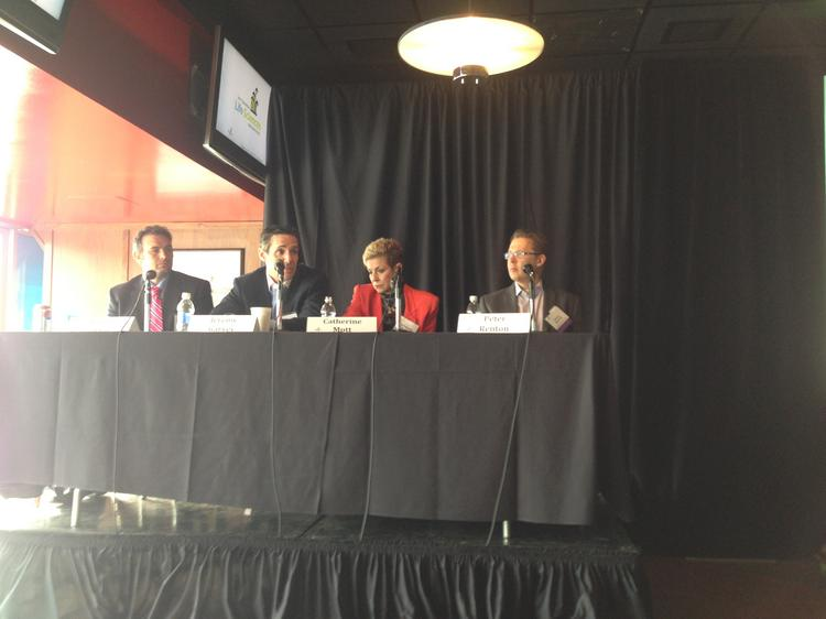 The Alternate Forms of Capital panel from the 3 Rivers Venture Fair, from left: Albert Ciuksza, CEO PortaBeer LLC; Jeremiah Garvey, shareholder Buchanan Ingersoll and Rooney; Catherine Mott, president and CEO of BlueTree Allied Angels; and Peter Renton, founder and CEO, Lend Academy.