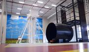 Wind turbine access towers used in rescue and operations training inside the 45,000 square-foot Seimens Nachelle Training Center.