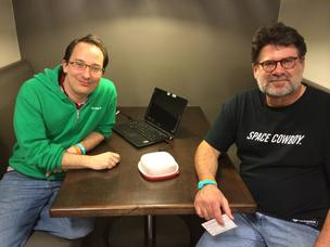 Matt Branton and Jeff Kinsey were part of the CoinCollctr team on the StartupBus 2014 from Tampa. In San Antonio, they pitched a Bitcoin POS unit made from a Tupperware case covered in glitter dust.